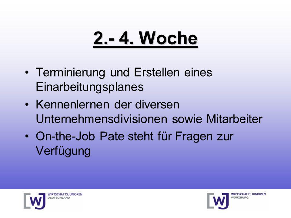 2.- 4. Woche Terminierung und Erstellen eines Einarbeitungsplanes Kennenlernen der diversen Unternehmensdivisionen sowie Mitarbeiter On-the-Job Pate s
