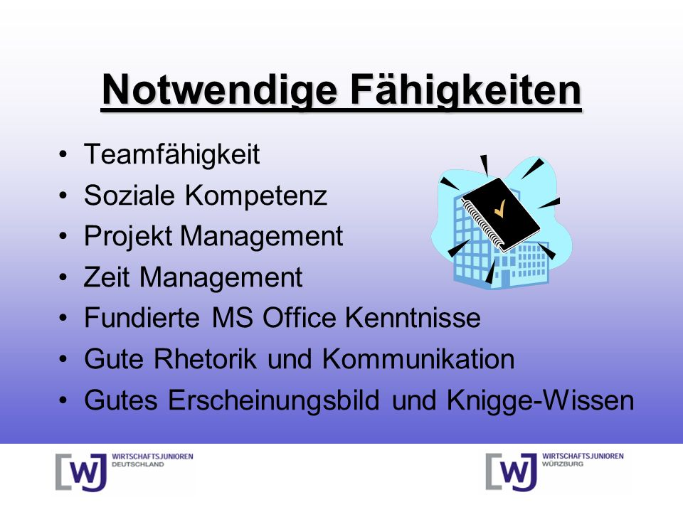 Notwendige Fähigkeiten Teamfähigkeit Soziale Kompetenz Projekt Management Zeit Management Fundierte MS Office Kenntnisse Gute Rhetorik und Kommunikati