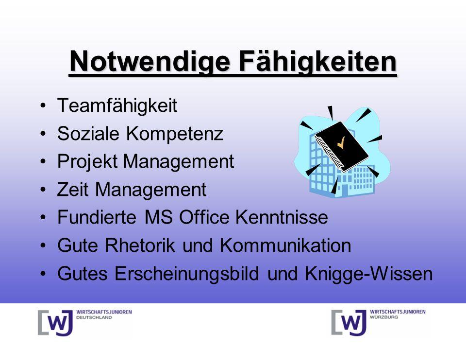 Notwendige Fähigkeiten Teamfähigkeit Soziale Kompetenz Projekt Management Zeit Management Fundierte MS Office Kenntnisse Gute Rhetorik und Kommunikation Gutes Erscheinungsbild und Knigge-Wissen