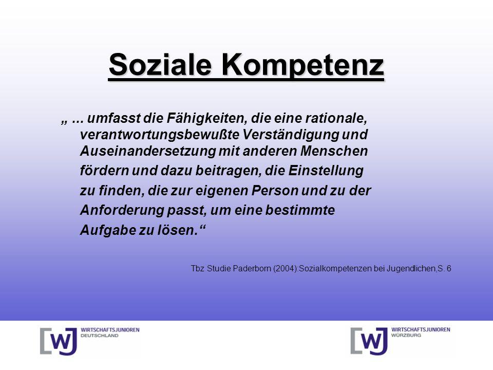 Soziale Kompetenz... umfasst die Fähigkeiten, die eine rationale, verantwortungsbewußte Verständigung und Auseinandersetzung mit anderen Menschen förd