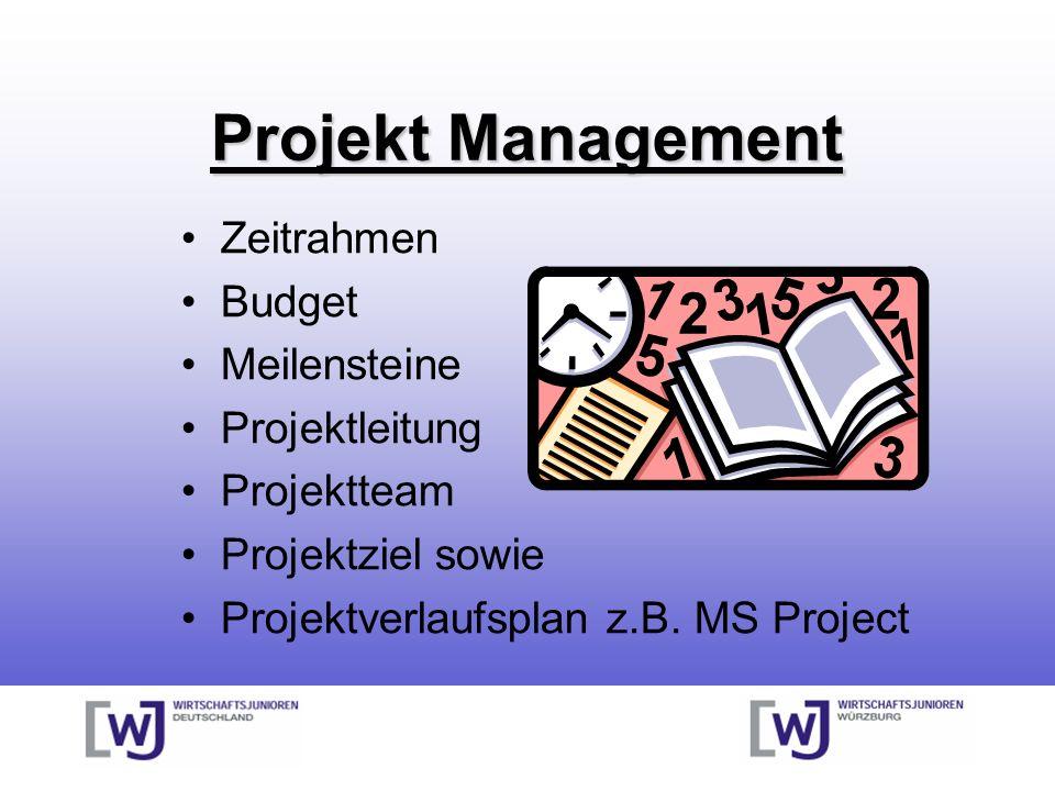 Projekt Management Zeitrahmen Budget Meilensteine Projektleitung Projektteam Projektziel sowie Projektverlaufsplan z.B. MS Project