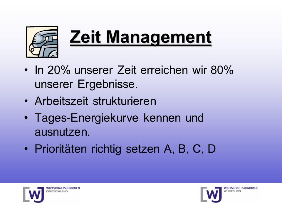 Zeit Management In 20% unserer Zeit erreichen wir 80% unserer Ergebnisse. Arbeitszeit strukturieren Tages-Energiekurve kennen und ausnutzen. Priorität