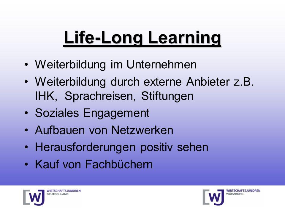 Life-Long Learning Weiterbildung im Unternehmen Weiterbildung durch externe Anbieter z.B. IHK, Sprachreisen, Stiftungen Soziales Engagement Aufbauen v