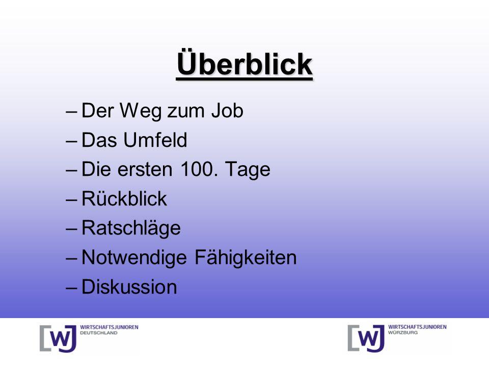 Überblick –Der Weg zum Job –Das Umfeld –Die ersten 100.