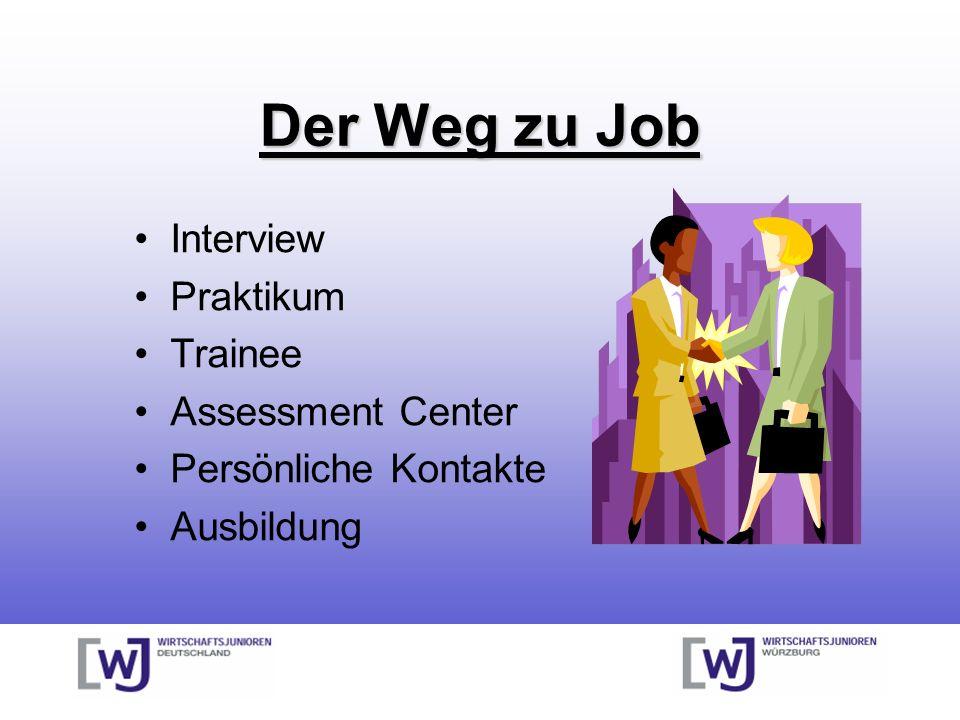Der Weg zu Job Interview Praktikum Trainee Assessment Center Persönliche Kontakte Ausbildung