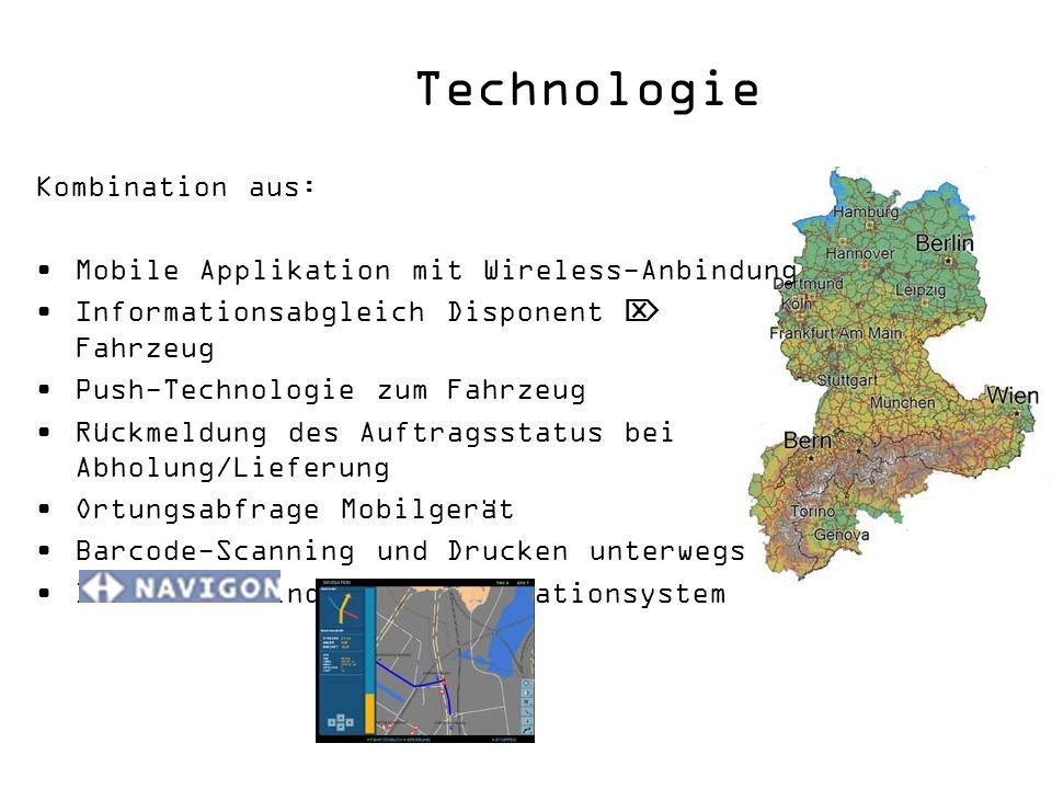 Kombination aus: Mobile Applikation mit Wireless-Anbindung Informationsabgleich Disponent Fahrzeug Push-Technologie zum Fahrzeug Rückmeldung des Auftr