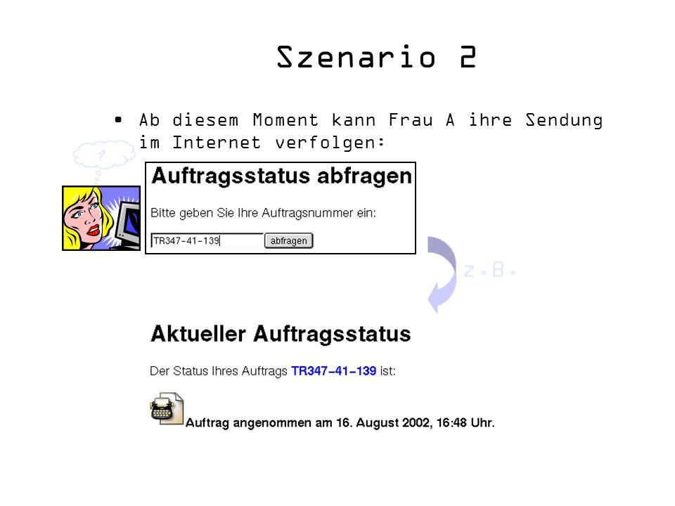 Szenario 2 Ab diesem Moment kann Frau A ihre Sendung im Internet verfolgen: ? z.B.