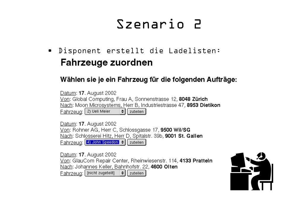 Szenario 2 Disponent erstellt die Ladelisten: