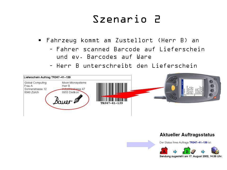 Szenario 2 Fahrzeug kommt am Zustellort (Herr B) an –Fahrer scanned Barcode auf Lieferschein und ev. Barcodes auf Ware –Herr B unterschreibt den Liefe