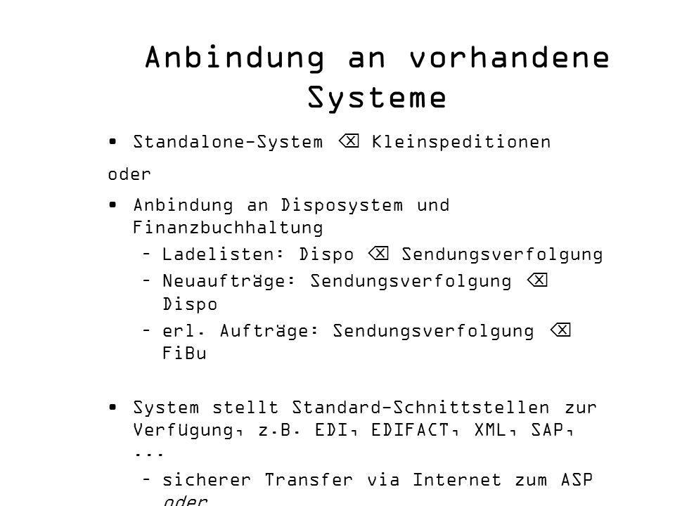 Anbindung an vorhandene Systeme Standalone-System Kleinspeditionen oder Anbindung an Disposystem und Finanzbuchhaltung –Ladelisten: Dispo Sendungsverf