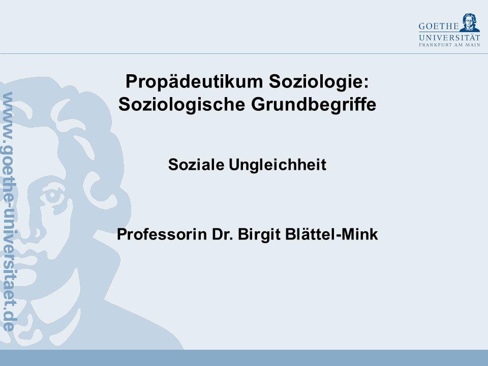 Propädeutikum Soziologie: Soziologische Grundbegriffe Soziale Ungleichheit Professorin Dr.