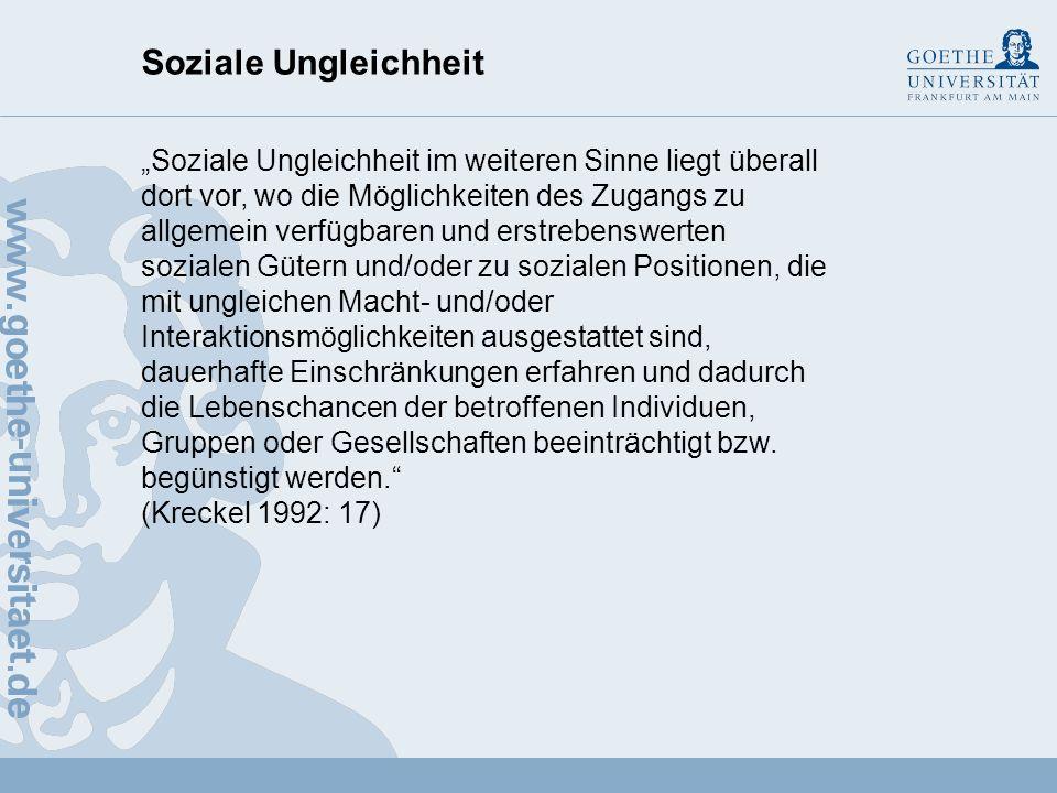 Soziale Ungleichheit Soziale Schichtung (1960er Jahre) Bildung, soziale Herkunft, Einkommen, Berufsprestige (nach Theodeor Geiger) Unterschicht: un- u