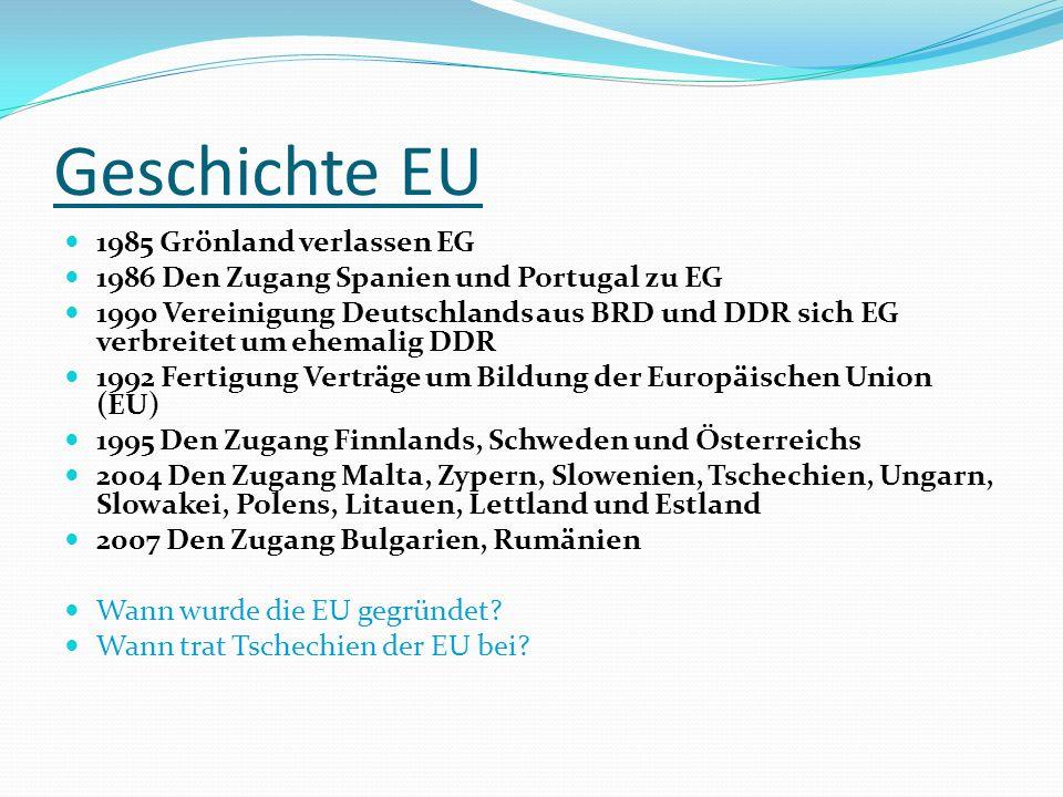Geschichte EU 1952 Entstehung Europäisch Vereinigung Kohle und Stahl (EVKS) - Mitglieder: Frankreich, Deutschland, Italien, Belgien, Niederlande und Luxemburg 1957 EVKS legt an Europäische Wirtschaftsgemeinschaft (EWG) und Europäische Gemeinschaft fürs Atom Energie (Euratom) 1967 Vereinigung aller der drei Gruppierung, bildet sich Europäische Gemeinschaft (EG) 1973 Den Zugang Großbritannien, Irland und Dänemarks zu EG 1981Den Zugang Griechenland zu EG