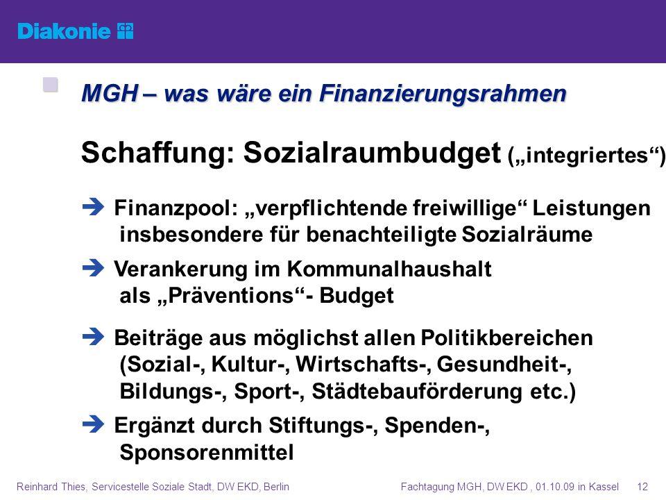 Fachtagung MGH, DW EKD, 01.10.09 in KasselReinhard Thies, Servicestelle Soziale Stadt, DW EKD, Berlin12 MGH – was wäre ein Finanzierungsrahmen MGH – w