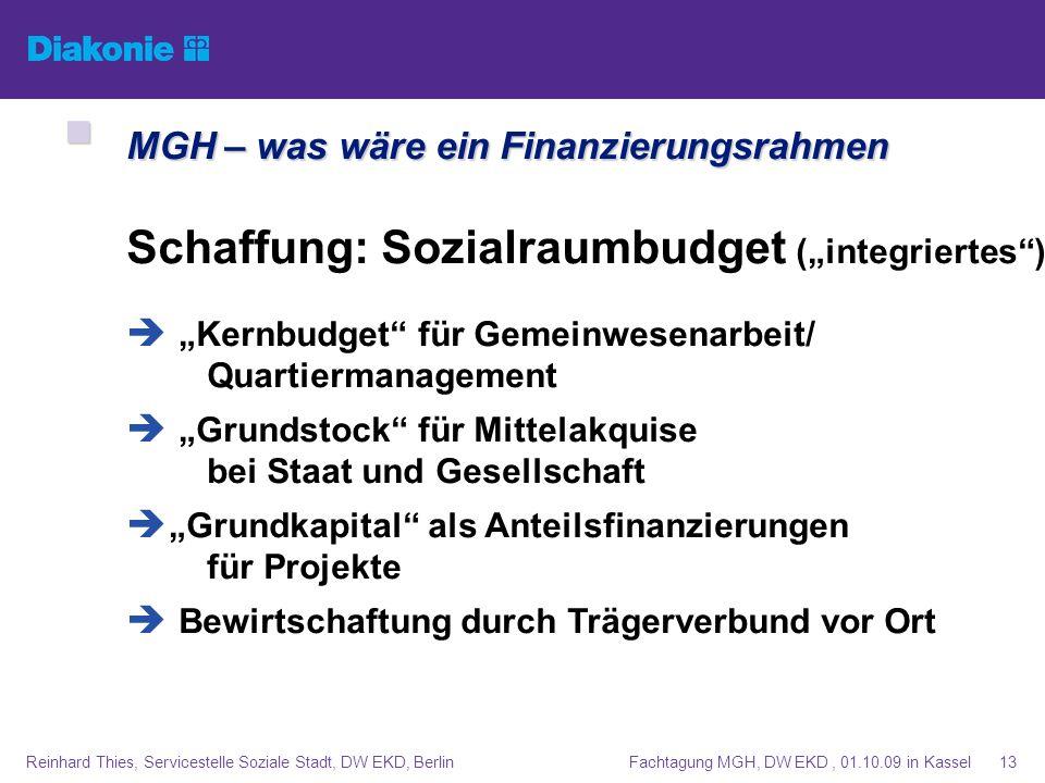Fachtagung MGH, DW EKD, 01.10.09 in KasselReinhard Thies, Servicestelle Soziale Stadt, DW EKD, Berlin13 Schaffung: Sozialraumbudget (integriertes) Ker