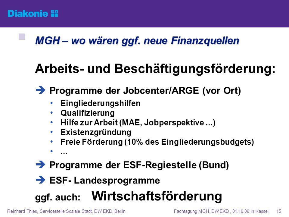 Fachtagung MGH, DW EKD, 01.10.09 in KasselReinhard Thies, Servicestelle Soziale Stadt, DW EKD, Berlin15 MGH – wo wären ggf. neue Finanzquellen MGH – w