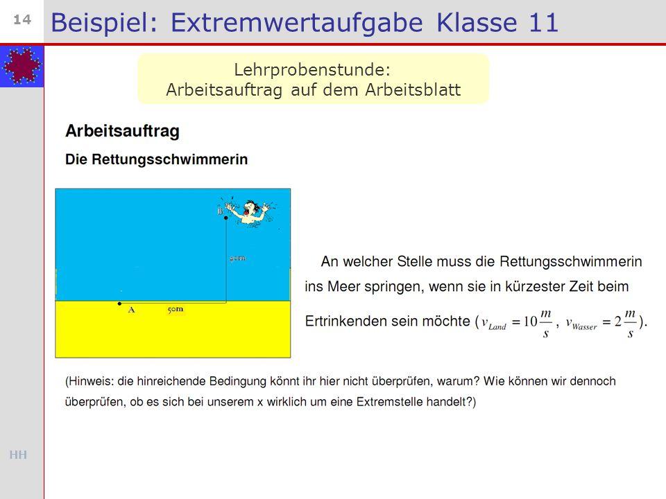 HH 14 Beispiel: Extremwertaufgabe Klasse 11 Lehrprobenstunde: Arbeitsauftrag auf dem Arbeitsblatt
