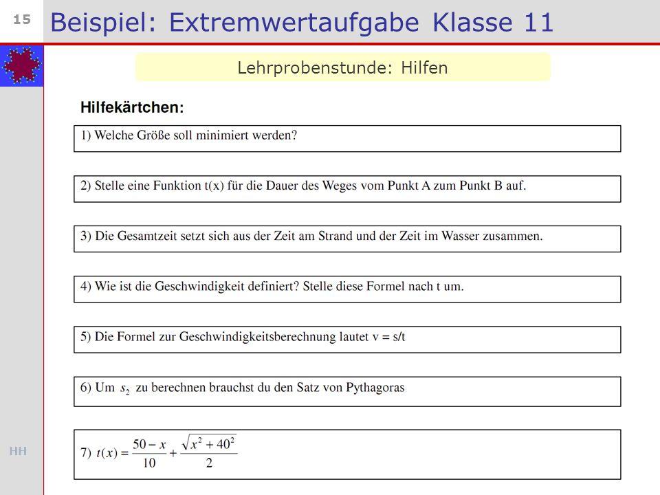 HH 15 Beispiel: Extremwertaufgabe Klasse 11 Lehrprobenstunde: Hilfen