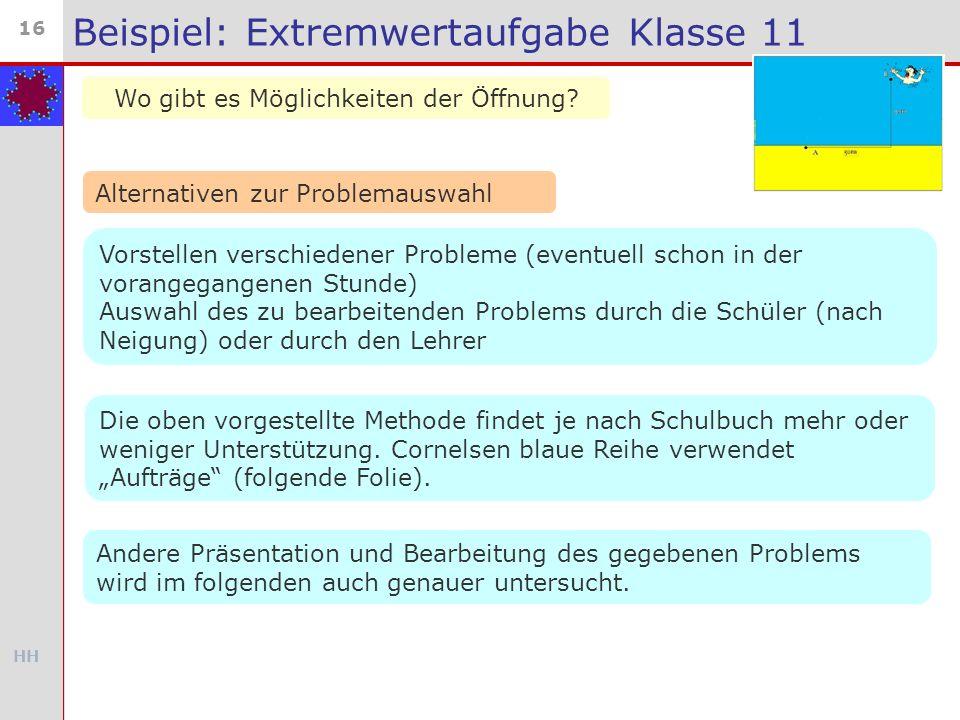 HH 16 Beispiel: Extremwertaufgabe Klasse 11 Wo gibt es Möglichkeiten der Öffnung? Alternativen zur Problemauswahl Vorstellen verschiedener Probleme (e