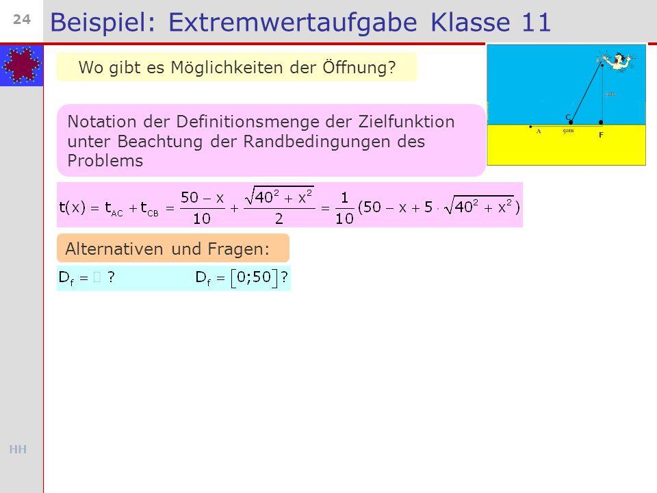HH 24 Beispiel: Extremwertaufgabe Klasse 11 Wo gibt es Möglichkeiten der Öffnung? C F Notation der Definitionsmenge der Zielfunktion unter Beachtung d