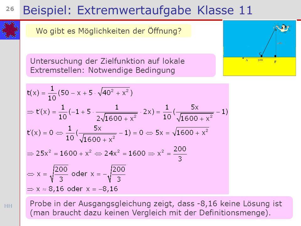 HH 26 Beispiel: Extremwertaufgabe Klasse 11 Wo gibt es Möglichkeiten der Öffnung? C F Untersuchung der Zielfunktion auf lokale Extremstellen: Notwendi