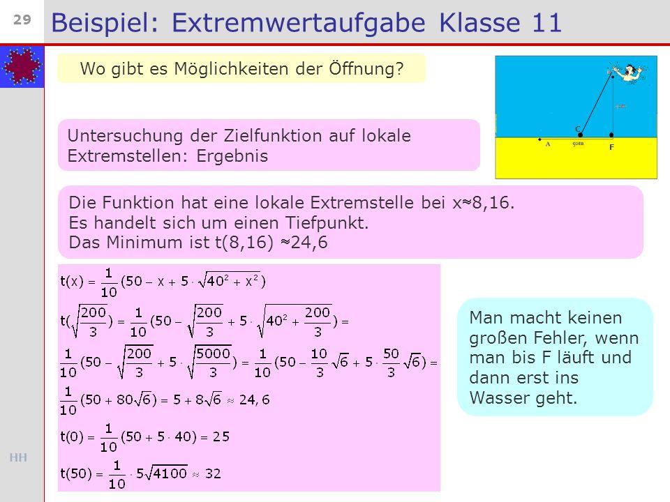 HH 29 Beispiel: Extremwertaufgabe Klasse 11 Wo gibt es Möglichkeiten der Öffnung? C F Untersuchung der Zielfunktion auf lokale Extremstellen: Ergebnis