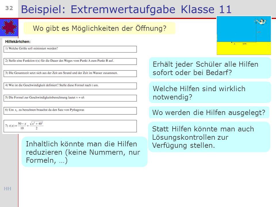 HH 32 Beispiel: Extremwertaufgabe Klasse 11 Wo gibt es Möglichkeiten der Öffnung? Erhält jeder Schüler alle Hilfen sofort oder bei Bedarf? Welche Hilf