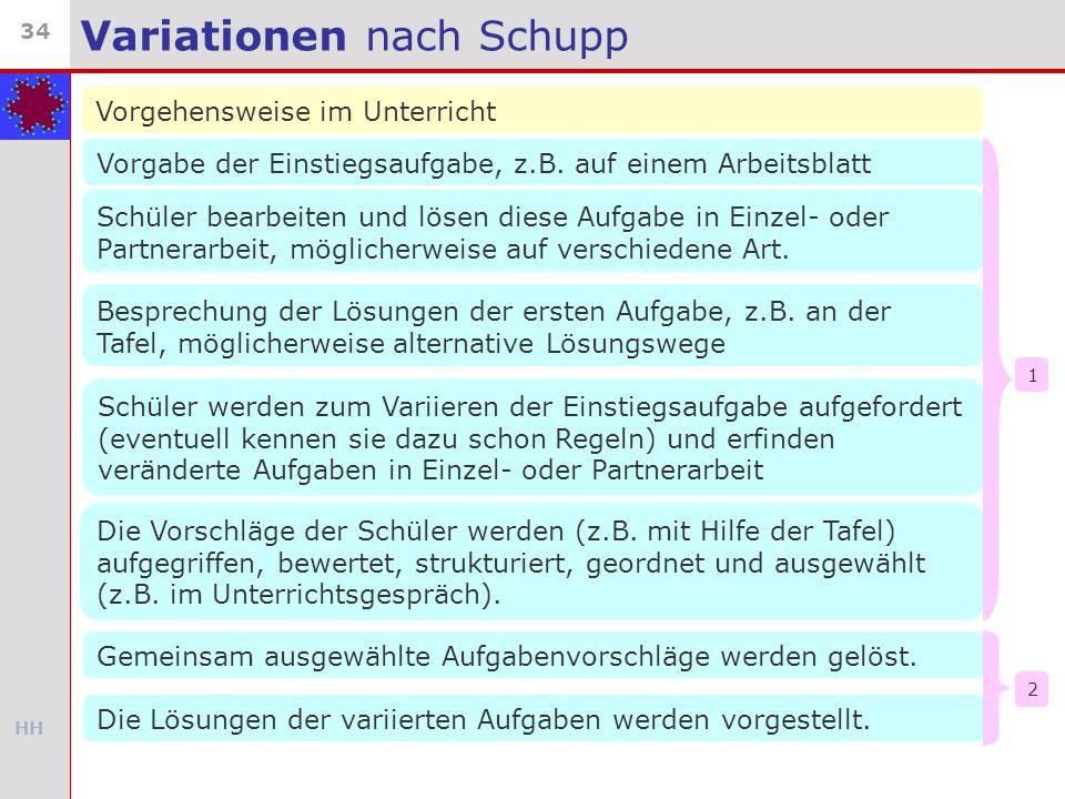 HH 34 Variationen nach Schupp Vorgehensweise im Unterricht Vorgabe der Einstiegsaufgabe, z.B. auf einem Arbeitsblatt Schüler bearbeiten und lösen dies