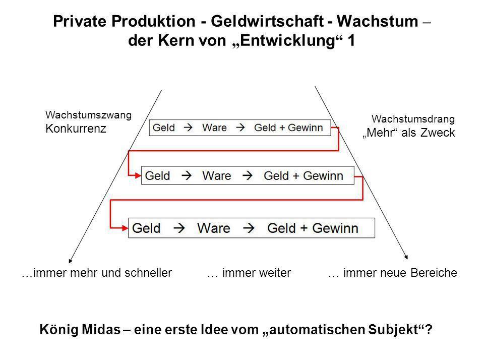 Private Produktion - Geldwirtschaft - Wachstum – der Kern von Entwicklung 1 …immer mehr und schneller… immer weiter… immer neue Bereiche Wachstumszwang Konkurrenz Wachstumsdrang Mehr als Zweck König Midas – eine erste Idee vom automatischen Subjekt
