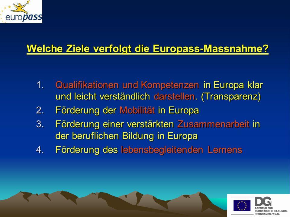 Die fünf Europassdokumente 1.Der Europass-Lebenslauf 2.Das Europass-Sprachenportfolio 3.Der Europass-Mobilitätsnachweis 4.Der Europass-Diplomzusatz 5.Die Europass-Zeugniserläuterung