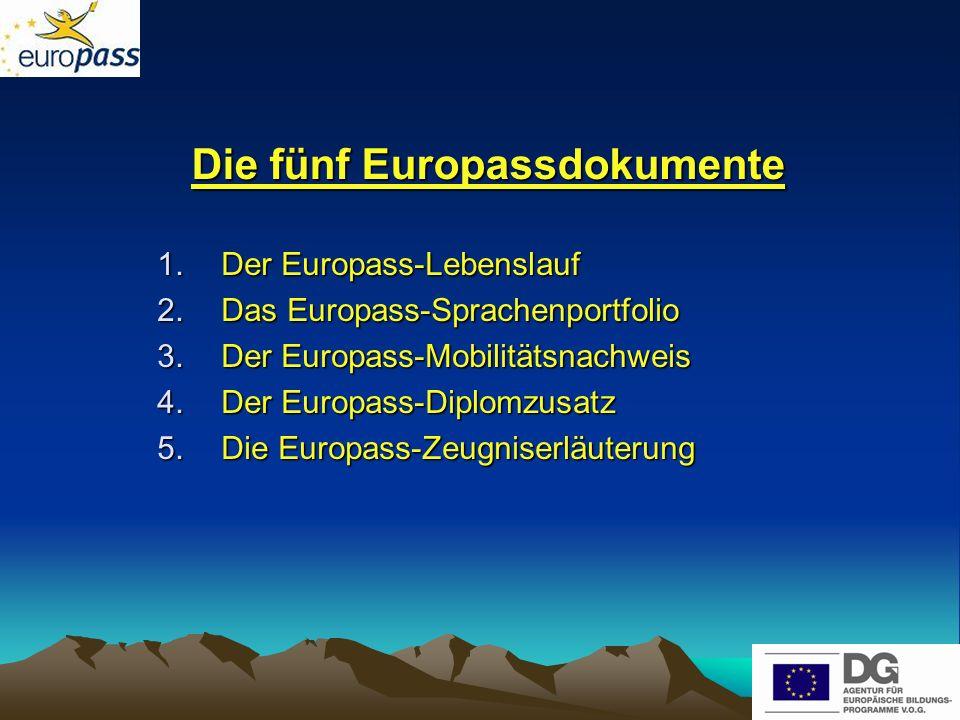 Die Europass-Dokumente im Internet Europa:http://europass.cedefop.eu.int/europass/home/hornav/Downloads/navigate.action Deutschsprachige Gemeinschaft http://www.europass.be