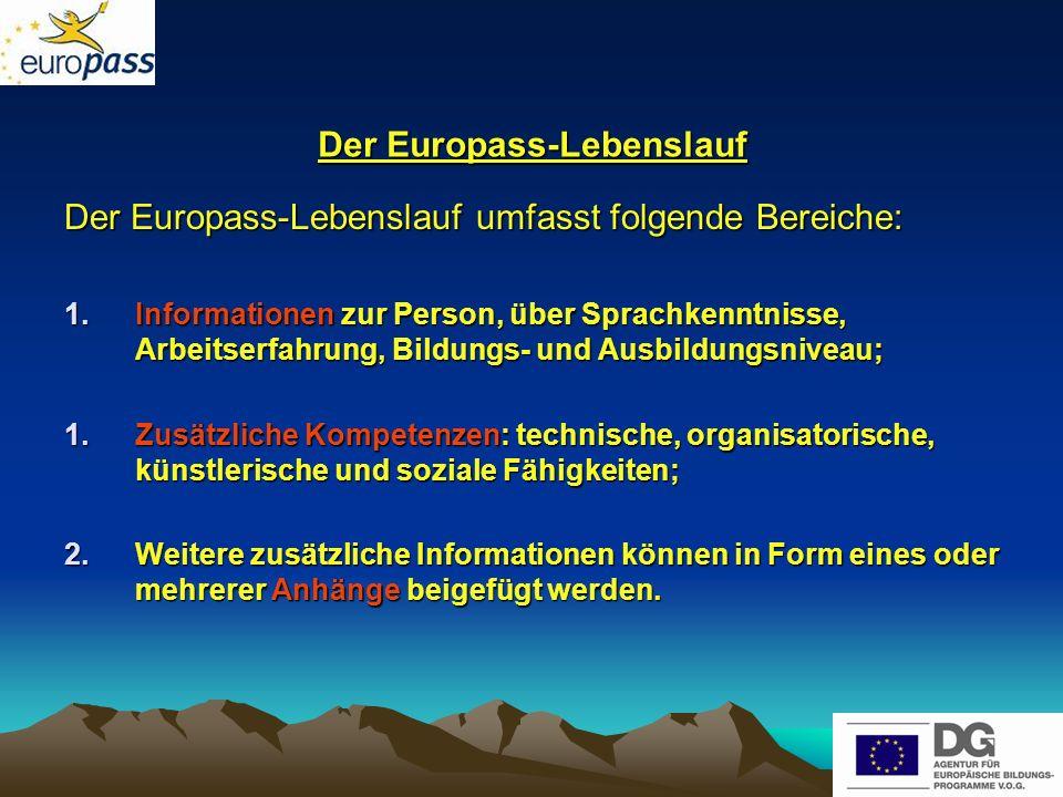Weitere angedachte Europass- Dokumente Eine spätere Erweiterung des Europass- Portfolios auf andere Transparenzdokumente wie z.B.