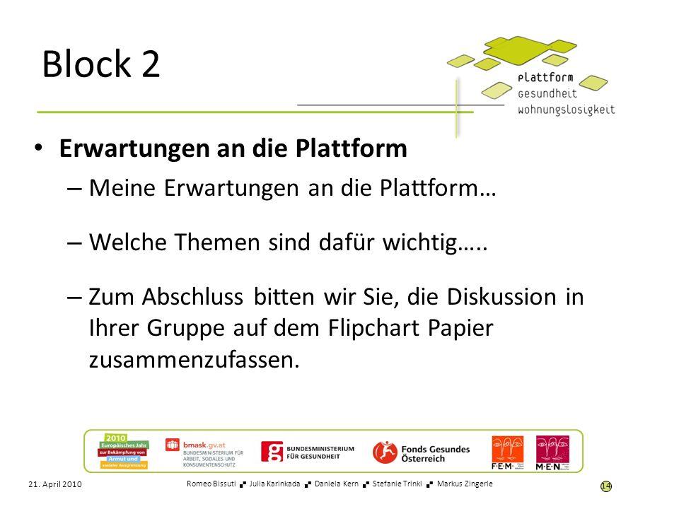 Block 2 Erwartungen an die Plattform – Meine Erwartungen an die Plattform… – Welche Themen sind dafür wichtig….. – Zum Abschluss bitten wir Sie, die D