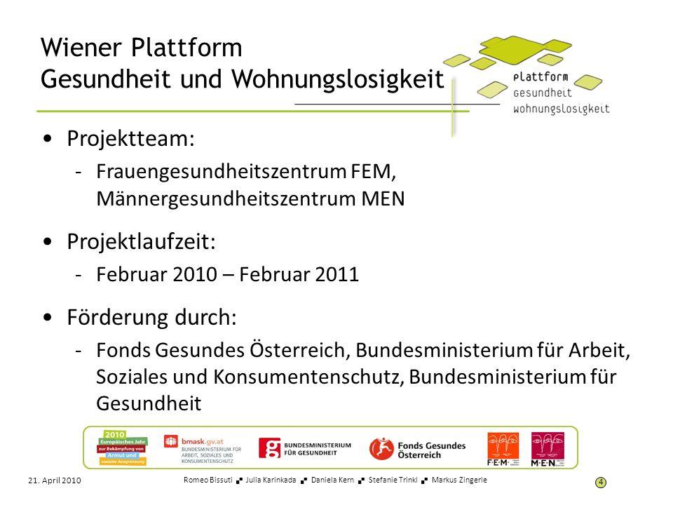 Wiener Plattform Gesundheit und Wohnungslosigkeit Projektteam: -Frauengesundheitszentrum FEM, Männergesundheitszentrum MEN Projektlaufzeit: -Februar 2