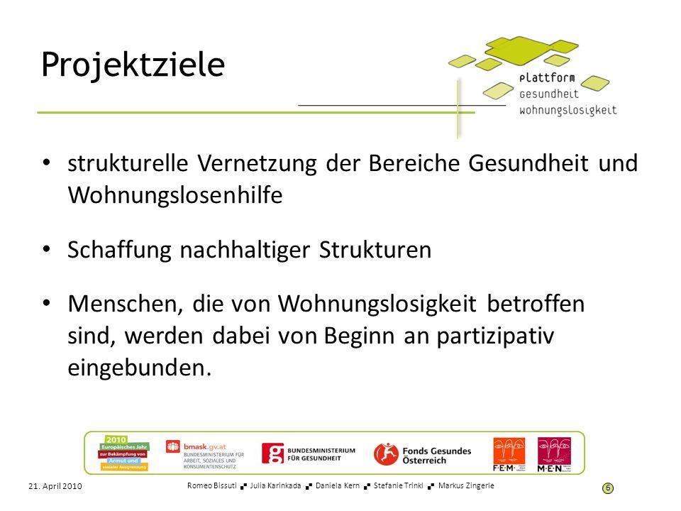 Vision Alle Wiener AkteurInnen aus den Bereichen Wohnungslosigkeit sowie Gesundheit werden Teil der Plattform und tragen durch die Zusammenarbeit dazu bei, dass sich die Strukturen und Rahmenbedingungen für Frauen und Männer, die von Wohnungslosigkeit betroffen sind, hinsichtlich ihrer Gesundheitsversorgung und –förderung verbessern.