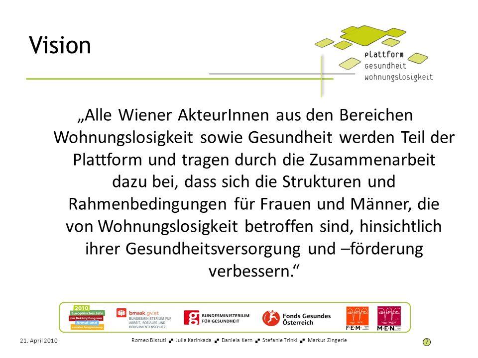 Vision Alle Wiener AkteurInnen aus den Bereichen Wohnungslosigkeit sowie Gesundheit werden Teil der Plattform und tragen durch die Zusammenarbeit dazu