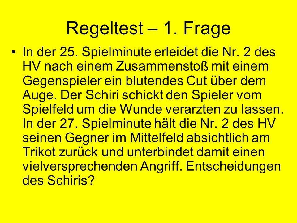 Regeltest – 1.Frage In der 25. Spielminute erleidet die Nr.