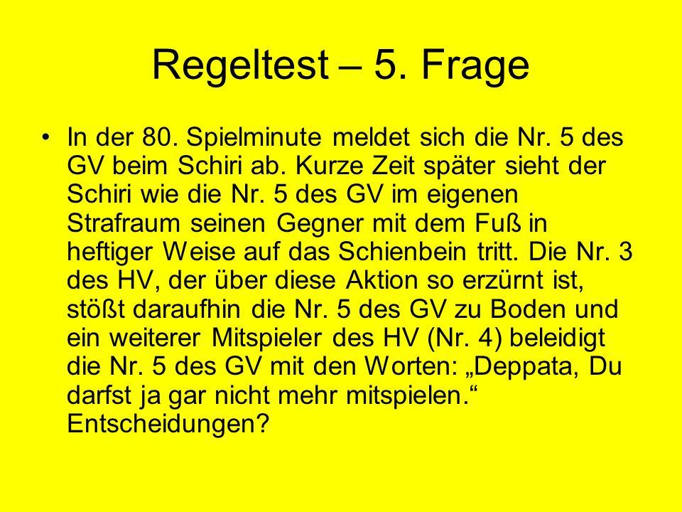 Regeltest – 5.Frage In der 80. Spielminute meldet sich die Nr.