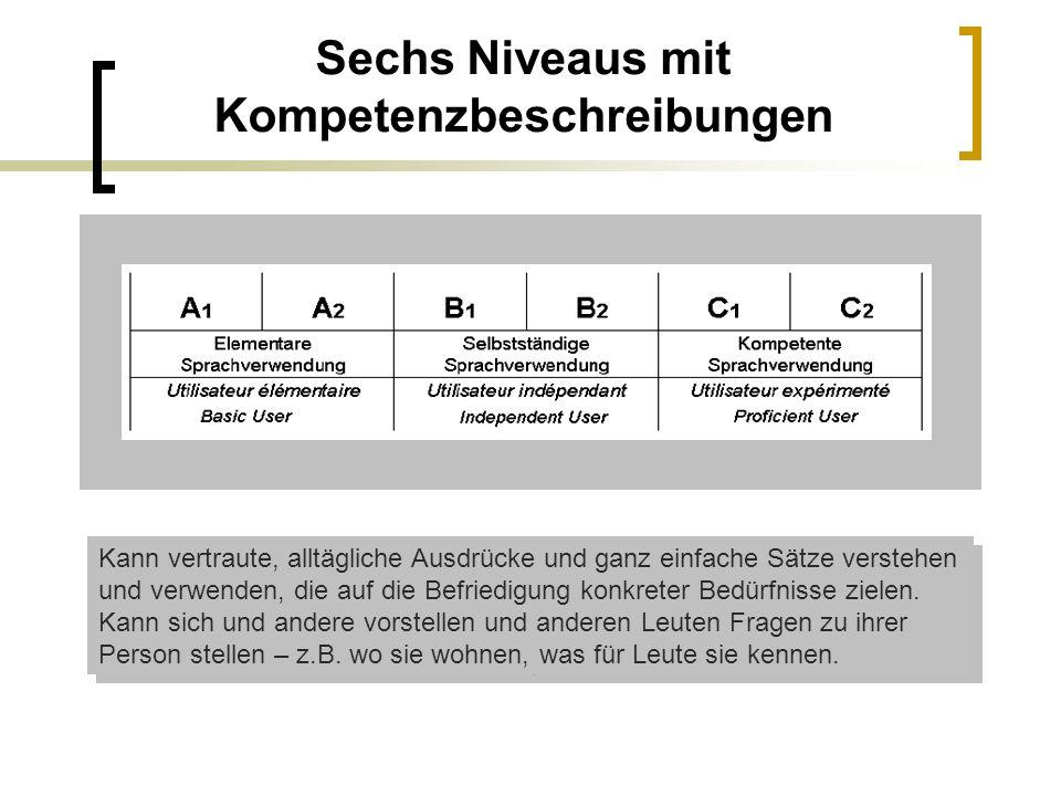 Sechs Niveaus mit Kompetenzbeschreibungen Kann vertraute, alltägliche Ausdrücke und ganz einfache Sätze verstehen und verwenden, die auf die Befriedig
