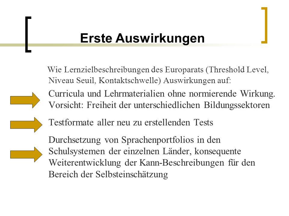Erste Auswirkungen Wie Lernzielbeschreibungen des Europarats (Threshold Level, Niveau Seuil, Kontaktschwelle) Auswirkungen auf: Curricula und Lehrmate