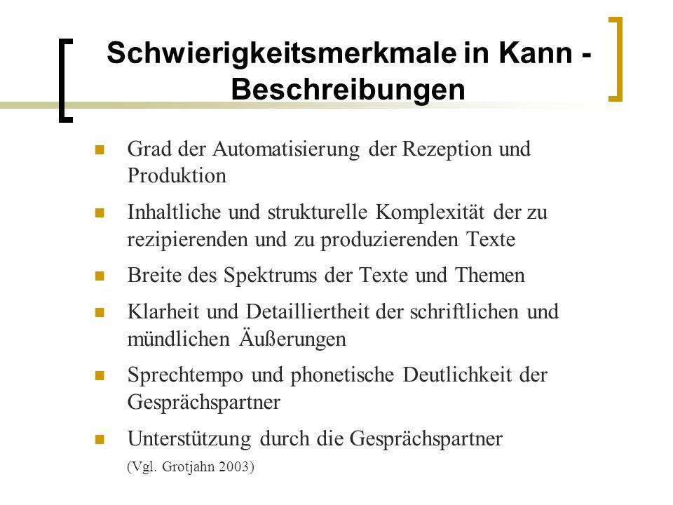 Schwierigkeitsmerkmale in Kann - Beschreibungen Grad der Automatisierung der Rezeption und Produktion Inhaltliche und strukturelle Komplexität der zu