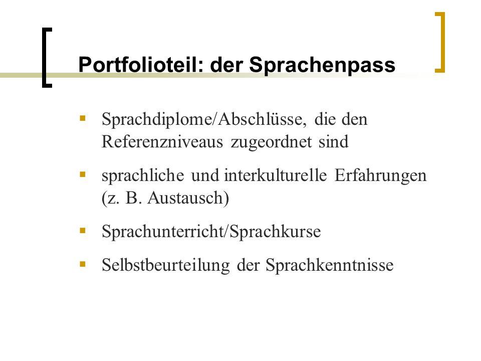 Portfolioteil: der Sprachenpass Sprachdiplome/Abschlüsse, die den Referenzniveaus zugeordnet sind sprachliche und interkulturelle Erfahrungen (z. B. A