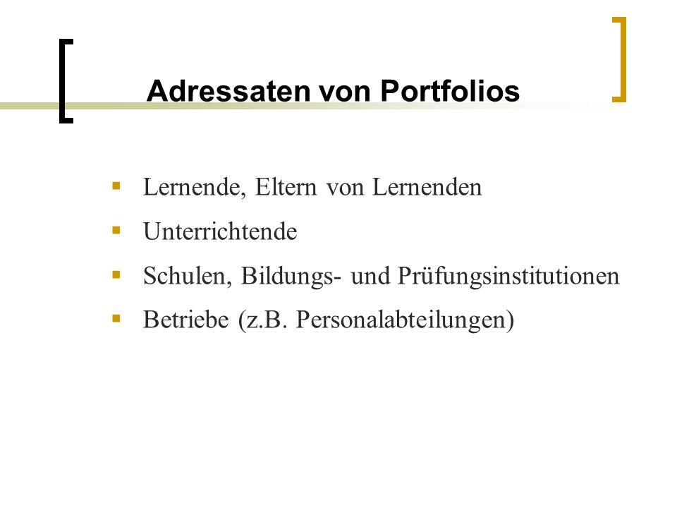 Adressaten von Portfolios Lernende, Eltern von Lernenden Unterrichtende Schulen, Bildungs- und Prüfungsinstitutionen Betriebe (z.B. Personalabteilunge