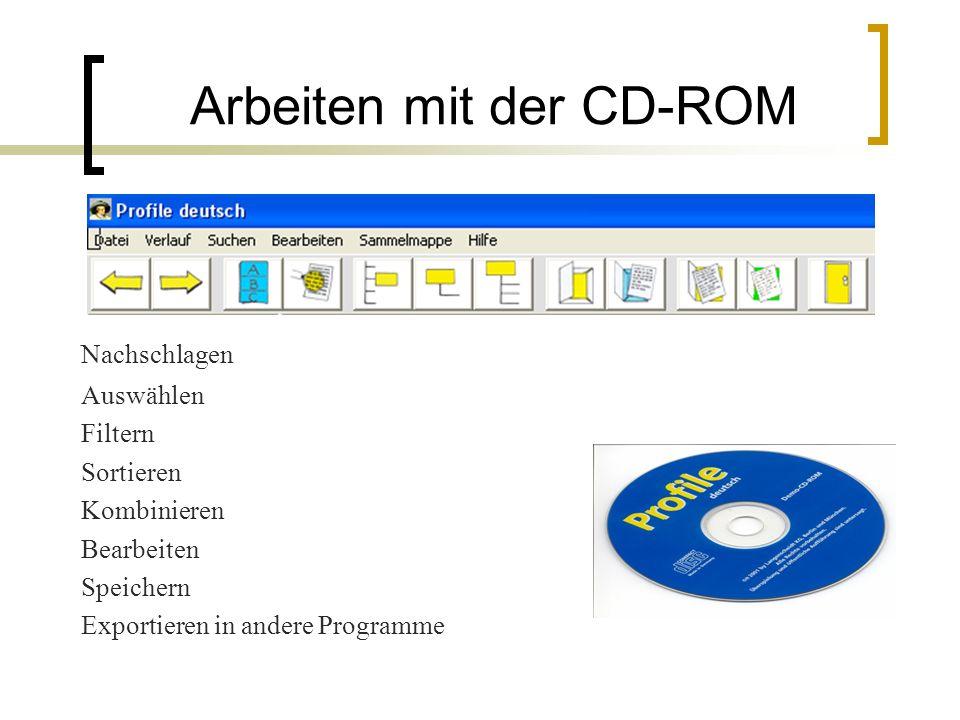 Arbeiten mit der CD-ROM Nachschlagen Auswählen Filtern Sortieren Kombinieren Bearbeiten Speichern Exportieren in andere Programme