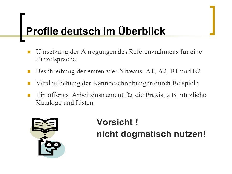 Profile deutsch im Überblick Umsetzung der Anregungen des Referenzrahmens für eine Einzelsprache Beschreibung der ersten vier Niveaus A1, A2, B1 und B