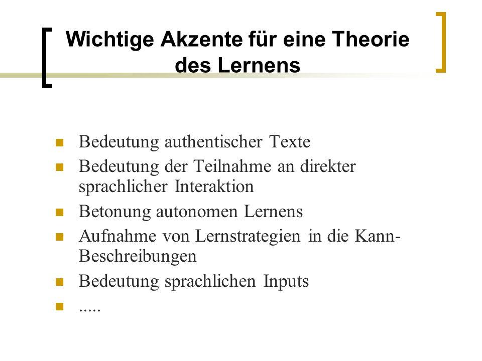Wichtige Akzente für eine Theorie des Lernens Bedeutung authentischer Texte Bedeutung der Teilnahme an direkter sprachlicher Interaktion Betonung auto