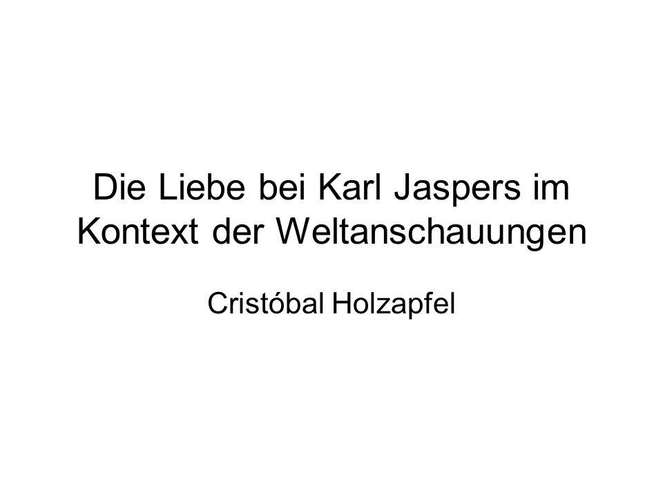 Kierkegaard, der Vorläufer, und Jaspers der Gründer der Existenzphilosophie Dieses ist zutiefst zu Bedenken: die ausschliessliche Konstitution des Individuums durch die Liebe.
