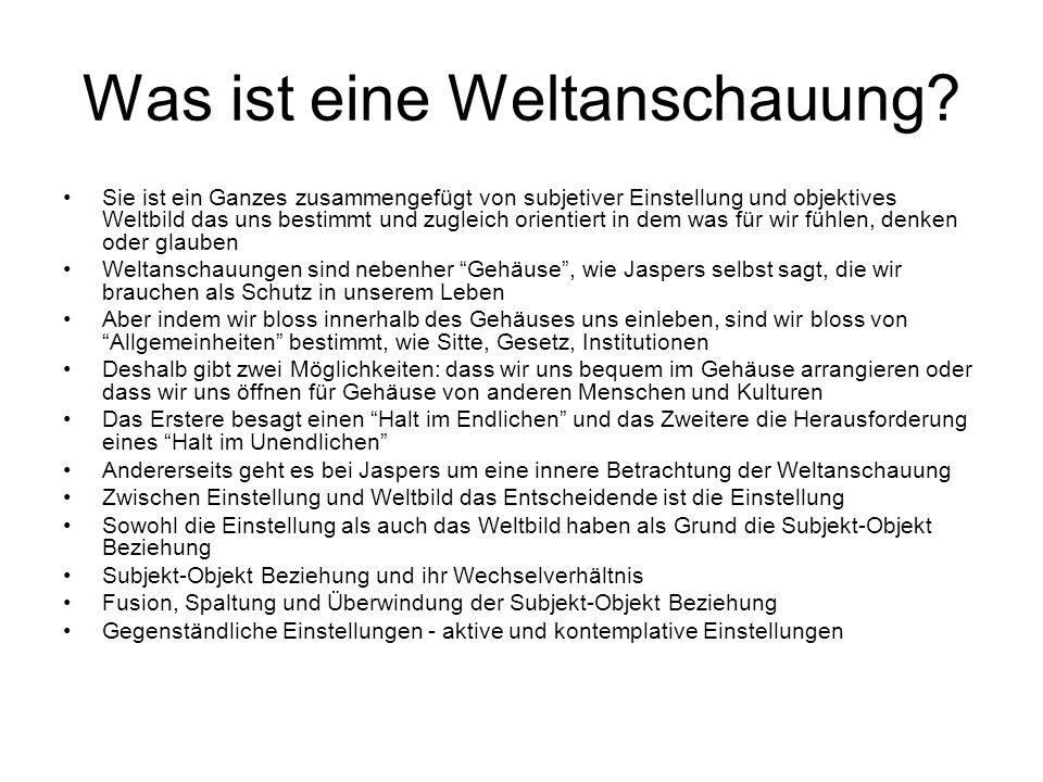 Weltanschauung und Subjekt-Objekt Beziehung Die Absicht der Psychologie der Weltanschauugen (PdW), veröffentlicht in 1919.