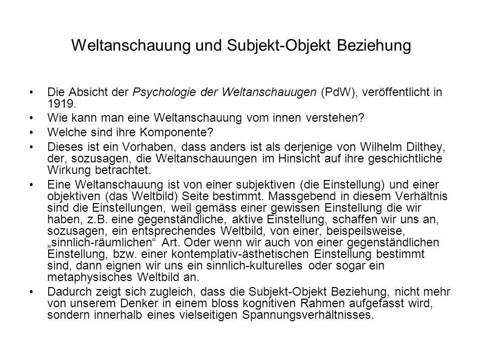 Weltanschauung und Subjekt-Objekt Beziehung Die Absicht der Psychologie der Weltanschauugen (PdW), veröffentlicht in 1919. Wie kann man eine Weltansch