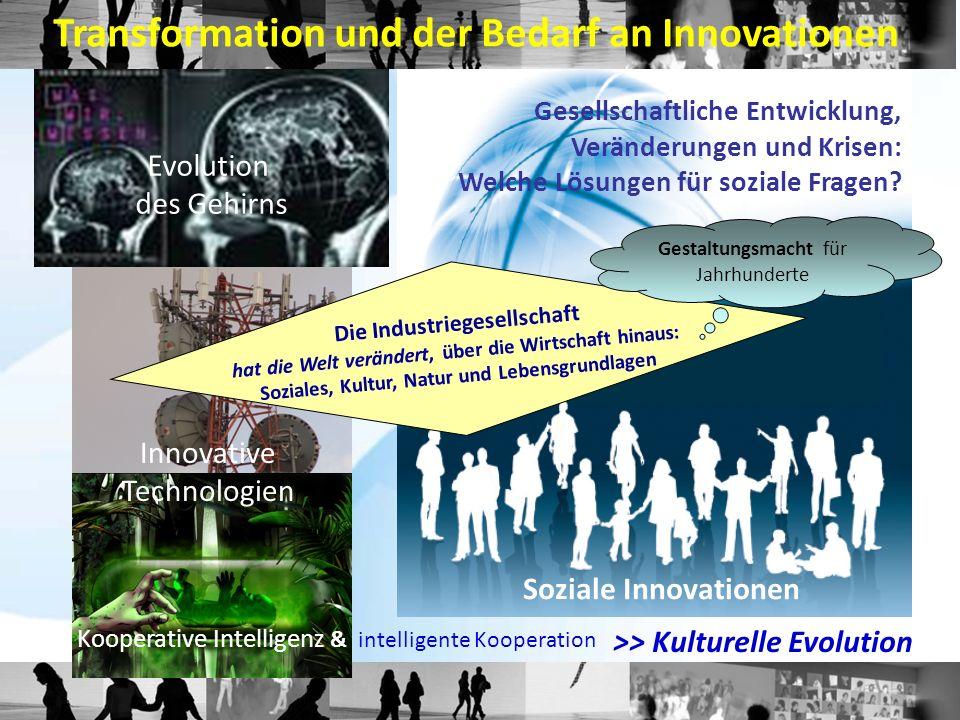 Gesellschaftliche Entwicklung, Veränderungen und Krisen: Welche Lösungen für soziale Fragen? Evolution des Gehirns Innovative Technologien Transformat